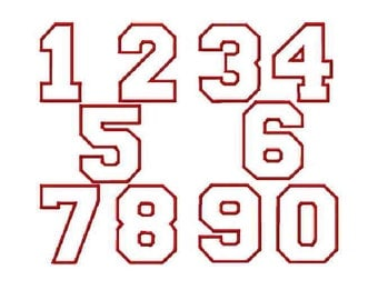 INSTANT Download - Varsity Numbers applique embroidery design - 6 sizes