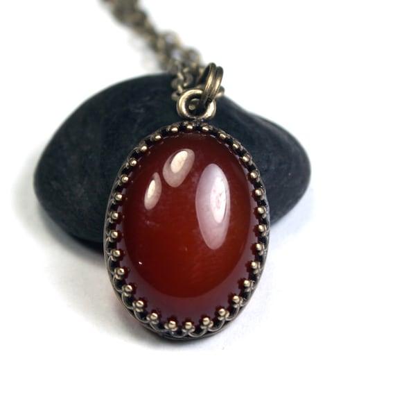 Carnelian Necklace - Bezel Set Red Gemstone Necklace