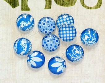 10pcs handmade assorted blue and white round clear glass dome cabochons 12mm (12-0425)