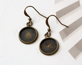 10 pcs antique bronze finish base tray earring - fit for 12mm cab. B87A