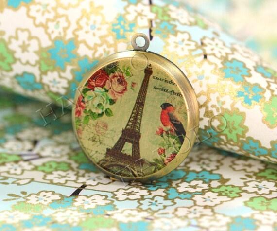 1pcs handmade Eiffel Tower antique bronze locket 32mm (L0345)