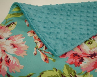 Bliss Bouquet with Teal Minky Baby Burp Cloth 12 x 20 READY TO SHIP