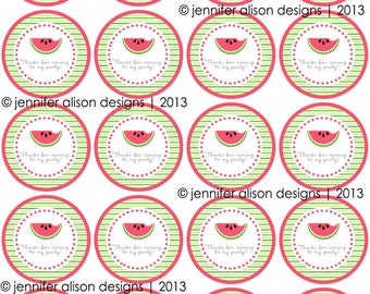 "INSTANT DOWNLOAD / Watermelon Summer Party  2"" printable Party Circles /  Cupcake Topper / Stickers / Thank You Tags"