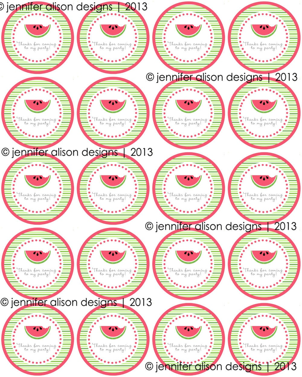 """INSTANT DOWNLOAD / Watermelon Summer Party 2"""" printable Party Circles / Cupcake Topper / Stickers / Thank You Tags"""