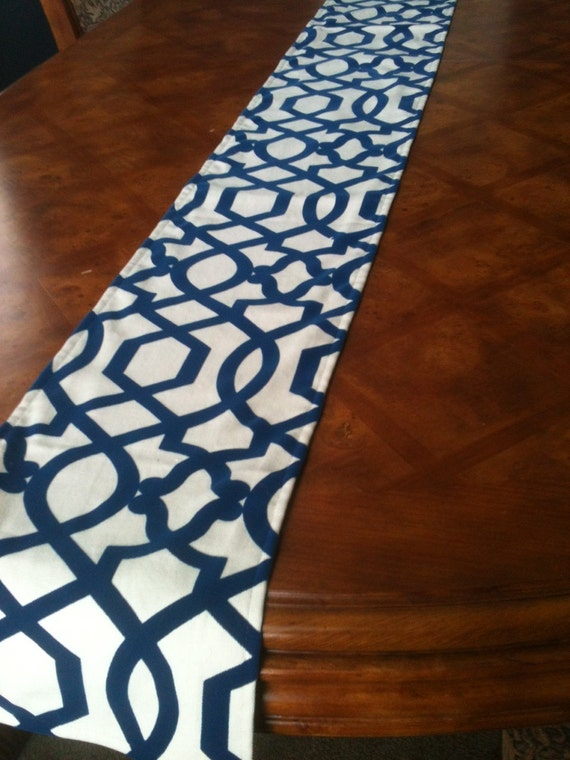 "Long Blue Lattice Table Runner up to 106"" long - Lined"