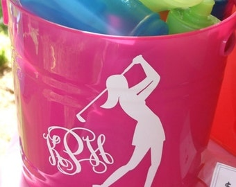 Woman Golfer Monogram Vinyl Decal Car Monogram