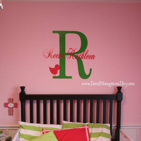 Large Initial, Name and extra design Vinyl Wall Decal Boy or Girl