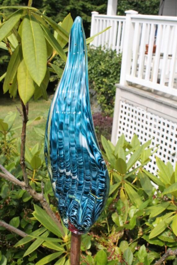 Aqua Teal Glass Leaf Garden Art Sculpture Outdoor Decoration Garden Finial