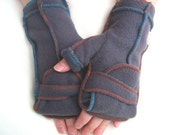 Warm Gray Convertible Mittens with multicolored threads, Xmittens Fingerless Gloves, Recycled Fleece, size SMALL
