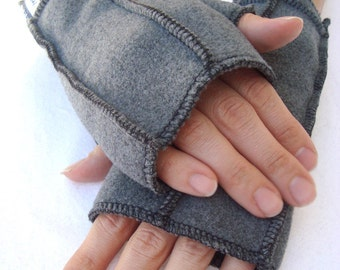 Gray Fingerless Mittens, Recycled Fleece Gloves, size MEDIUM,  BLACK thread