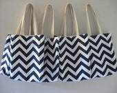 Bridesmaid Totes - 7 Chevron Mini Totes - Maid of Honor Gifts - Welcome Bags & Wedding Favors - Chevron Bags