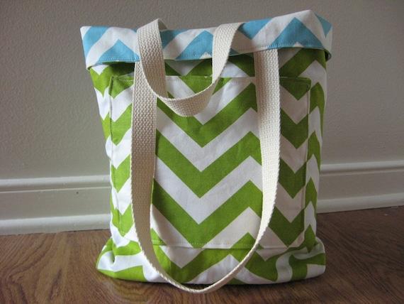 Small Teacher Tote, REVERSIBLE Chevron Bag, school tote bag, chevron tote bag chartruese and tiffany blue