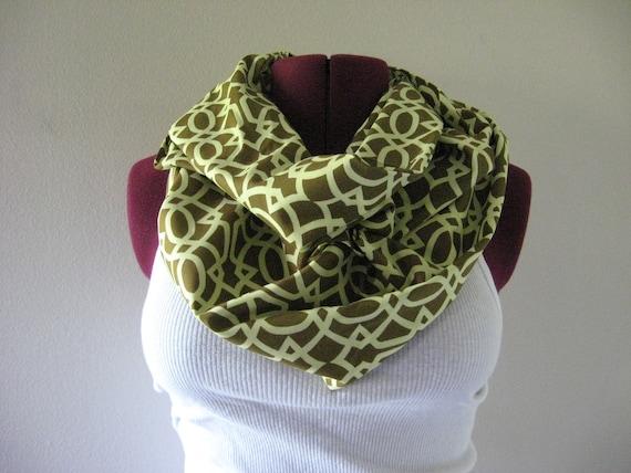 Infinity Scarf Olive print, loop scarf, circle scarf