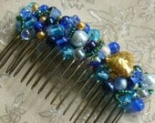 Blue Czech Glass Antiqued Brass Heart Hair Comb- OOAK, Shades of Blue Hair Comb