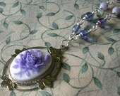 Purple Cameo Necklace- Rose Cameo, Wire Wrapped Czech Glass Beads