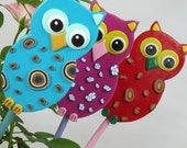 Owl Garden Stakes - Ornament, Table Decorations for Birthday or Shower, Blue, Pink, Red set of 3