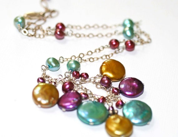 Tri-Color Freshwater Pearl and Sterling Silver Handmade Necklace