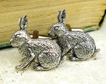 Rabbits Cufflinks. Antiqued Silver Pewter Cufflinks