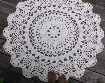 """Off White Cotton Crochet Doily Rug in 1.2m 120cm 47.24"""" Circle Lacy Pattern"""