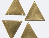 3 Hole Raw Brass Geometric Triangle Pendant Charm (6) mtl368G