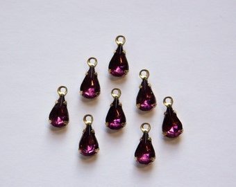 Vintage Amethyst Teardrop Stones in 1 Loop Brass Setting 8mm x 4mm par001DD