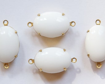 Vintage Opaque White Stone in 2 Loop Brass Setting 16x11mm ovl008E2