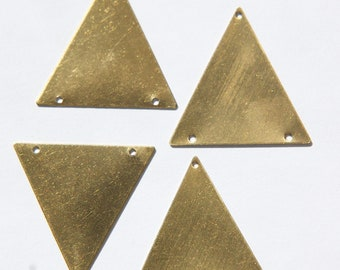 3 Hole Raw Brass Geometric Triangle Pendant Charm (6) mtl368G