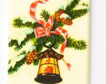 Lg Vintage Retro Lantern on Pine Bough Christmas Cabochon 80mm X 45mm cab002D