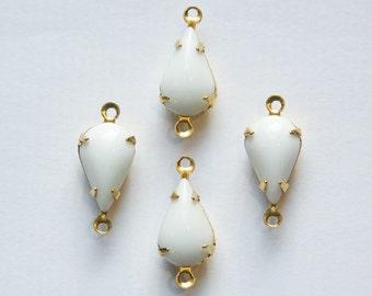 Vintage Opaque White Glass Teardrop Stone in 2 Loop Brass Setting par003X2