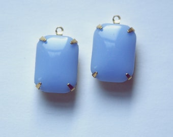Vintage Periwinkle Blue Glass Rectangle Drops 1 Loop Brass Setting 18X13mm squ004G