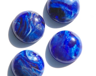 Vintage Blue and White Marbled Acrylic Cabochons 18mm cab822