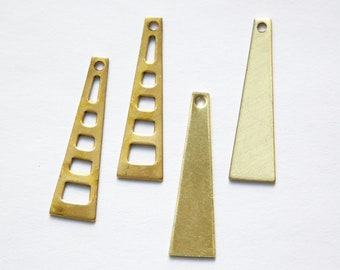 Raw Brass Stacking Triangle Pendant Findings SM (6) mtl127C