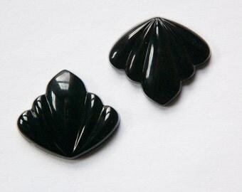 Vintage German Black Glass Swag Cabochons cab048E