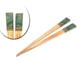 Handmade Wood Hair Stick Set Oak Wood with Green Chestnut Burl Wood