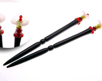 Handmade Wood Hair Stick Set Ebony Wood with Calla Lily and Swarovski Crystals
