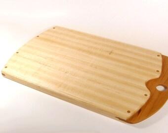 Handmade Wood Cutting Board Hard Maple Wood and Cherry Wood