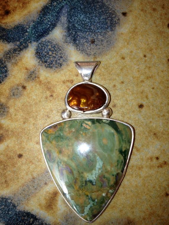 RESERVED FOR KARENPACKARD  Fire Agate and Rainforest Jasper Rhyolite Pendant - Fine Art Jewelry