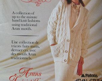 Vintage Patons Irresistible Arans Knitting Pattern Book