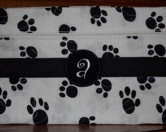 Custom Monogramed  Black and White Paw Print Clutch/Wristlet Bag