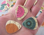 Guitar Picks (Set of 3)  Wood Veneer Recycled Heavy Weight Rigid