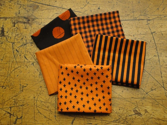 Orange And Black Material | Quilt Shop Fabric | Fat Quarter Bundle Of 5 | LAST ONE