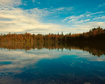 Landscape photography, northern ontario, boreal forest, woodland, reflection, blue sky, loons, fresh air, wilderness, glass, indigo