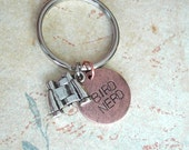 Bird Nerd Charm Keychain.. Hand Stamped .. customize stylish antiqued metal charm .. Round pendant in Copper, Silver or Gold