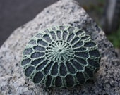 Crochet Covered Granite Beach Stone Seafoam Green Lace Look over Gray