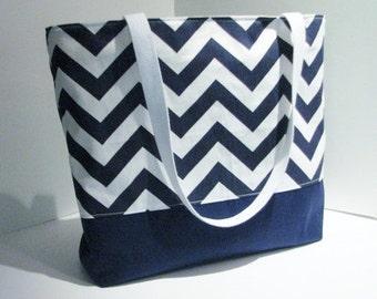 Chevron tote Bag . Navy Blue White . chevron beach bag . Standard size . great bridesmaid gifts teacher tote MONOGRAMMING Available