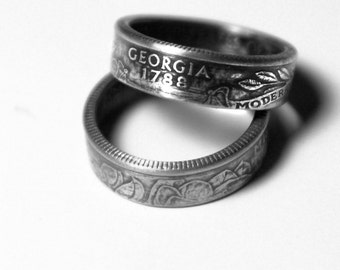 Handcrafted Ring made from a US Quarter - Georgia - Pick your size