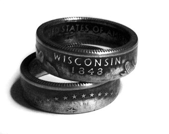 Handcrafted Ring made from a US Quarter - Wisconsin - Pick your size