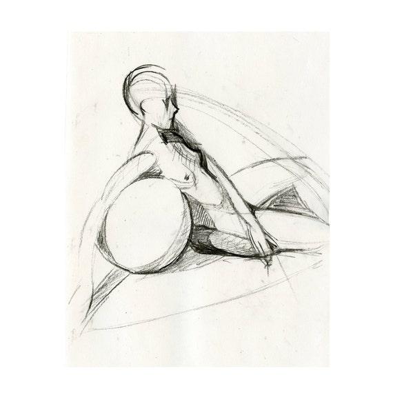 Original Female Nude Figure Drawing Gesture Sketch - Karin Geometric