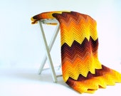 Vintage Wool Afghan Lap Blanket Chevron / Autumn Harvest Home Decor