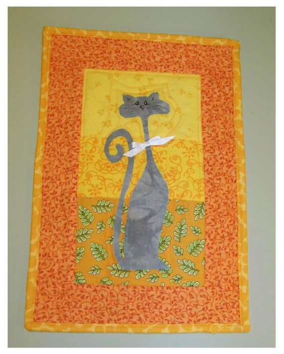 Gray Cat - Quilted Wall Hanging